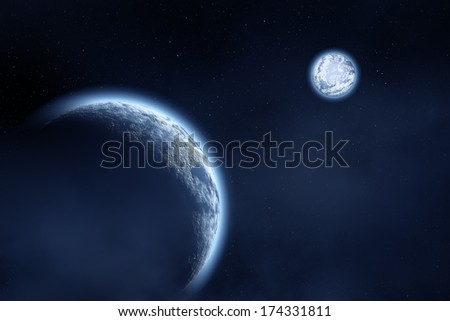 Space landscape : earth and moon  - stock photo