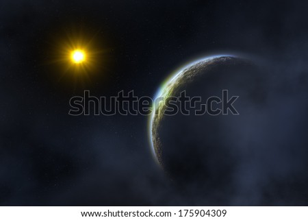 Space landscape : earth and sun  - stock photo