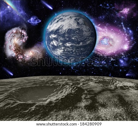 Space landscape. Elements of this image furnished by NASA - stock photo