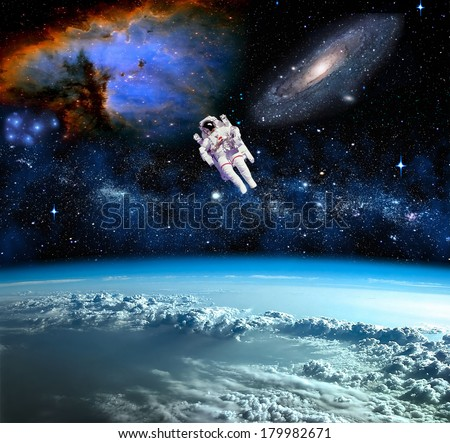 Space landscape, view from Earth. Elements of this image furnished by NASA - stock photo
