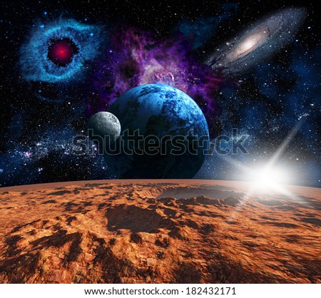 Space landscape, view from the Mars. Elements of this image furnished by NASA - stock photo