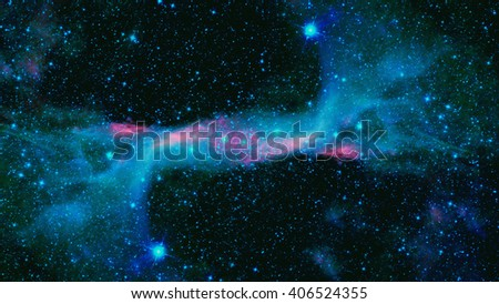 Space landscape with beautiful nebula and bright stars - stock photo