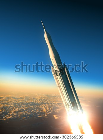 Space Launch System Launching. 3D Scene. - stock photo