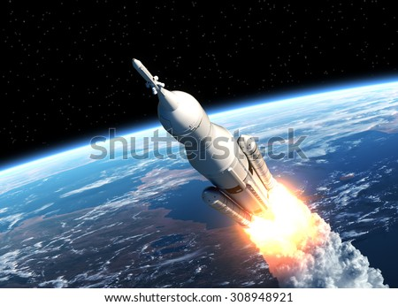 Space Launch System Takes Off. 3D Scene. - stock photo