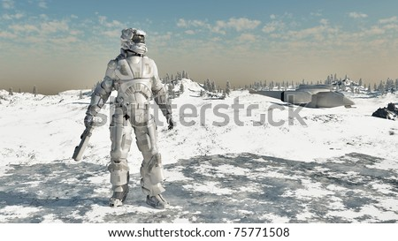 Space Marine and dropship on a frozen ice planet, 3d digitally rendered illustration - stock photo