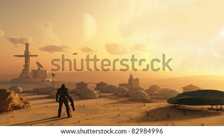 Space marine discovering an alien village on a sandy desert planet, 3d digitally rendered illustration - stock photo