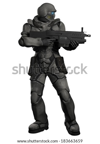Space Marine Trooper with Heavy Rifle. Futuristic sci-fi space marine trooper with heavy rifle firing to his left, 3d digitally rendered illustration - stock photo