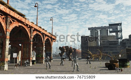 Space Marine unit on patrol in the outskirts of a future city, 3d digitally rendered illustration - stock photo