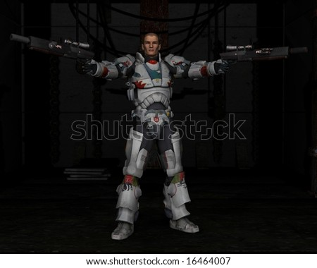 Space Marine with Dark Background, 3d digitally rendered illustration - stock photo