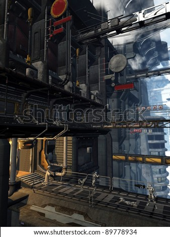 Space marines unexpected encounter with an alien creature in a futuristic sci-fi city, 3d digitally rendered illustration - stock photo