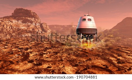 Space module landing on Mars surface. Digital illustration. - stock photo