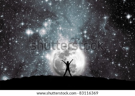 Space, moon and man - stock photo