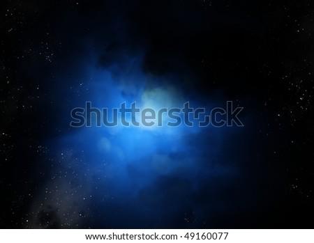 Space nebula deep blue - stock photo