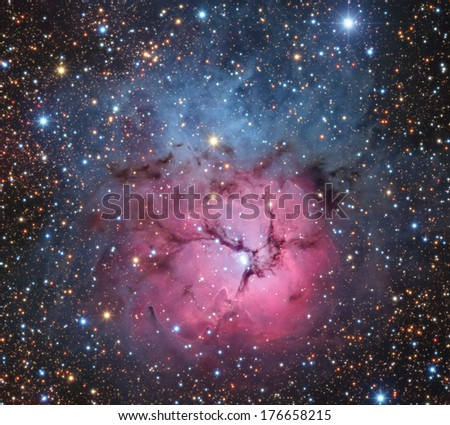 Space nebula in the zodiacal constellation of the Archer. - stock photo