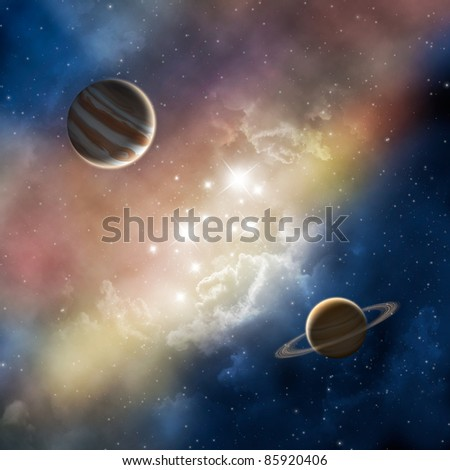 space nebula with planets - stock photo