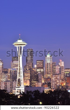 Space Needle, Seattle Skyline at Night - stock photo