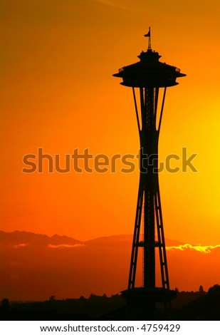 Space Needle Silhouette - stock photo