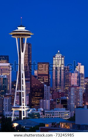 Space Needle tower in Seattle skyline - stock photo