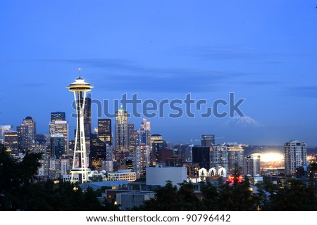 Space Needle with mount rainier