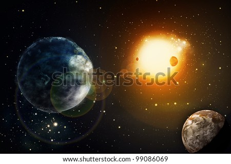 Space of galaxy with stars and planet - stock photo