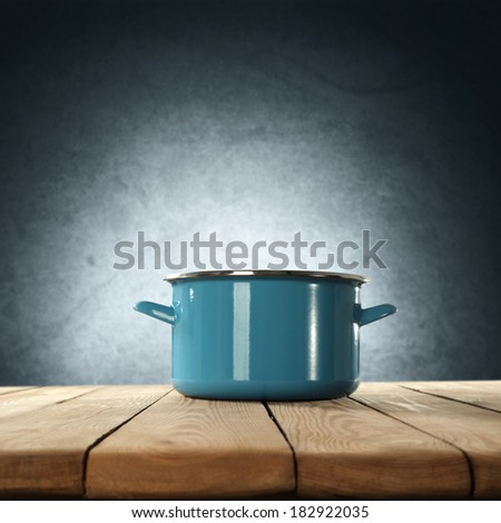 space of kitchen and blue pot