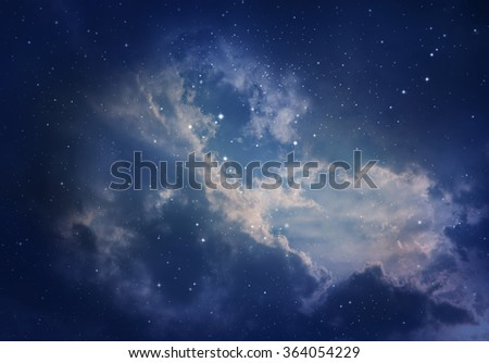 Space of night sky with cloud and stars.