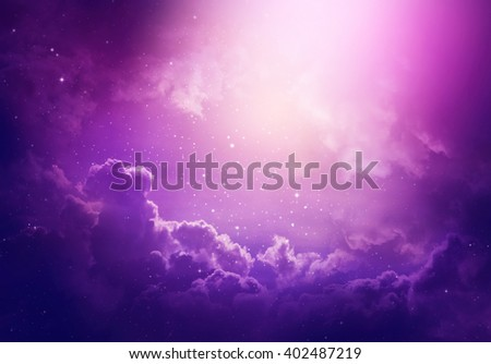 Space of night sky with cloud and stars. - stock photo