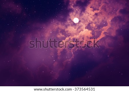 Space of night sky with moon and stars. - stock photo