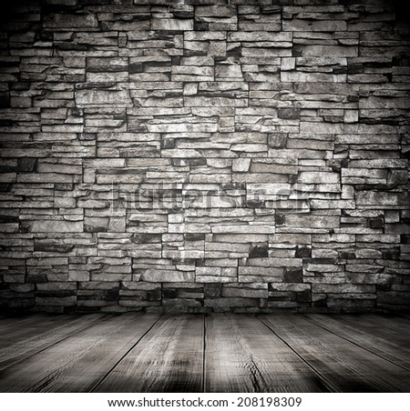 Space of vintage grungy paint black weathered brickwall cement background, stone old dark stucco gray texture as a retro pattern wall in rural room from stonework technology, architecture wallpaper - stock photo