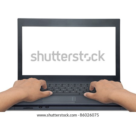 Space on the laptop screen for decorations. - stock photo