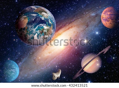 Space planet galaxy milky way Earth Mars Saturn universe astronomy solar system. Elements of this image furnished by NASA. - stock photo
