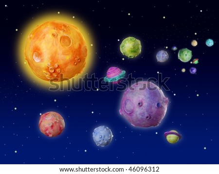 Space planets fantasy handmade colorful universe galaxy [Photo Illustration] - stock photo