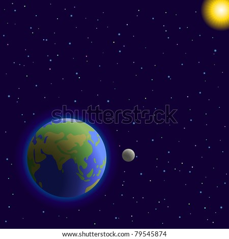 space,  planets mother Earth, moon, sun, stars - stock photo