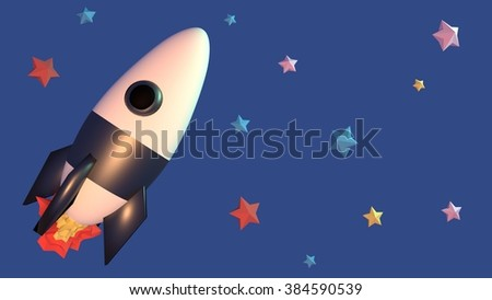 Space rocket and stars. - stock photo