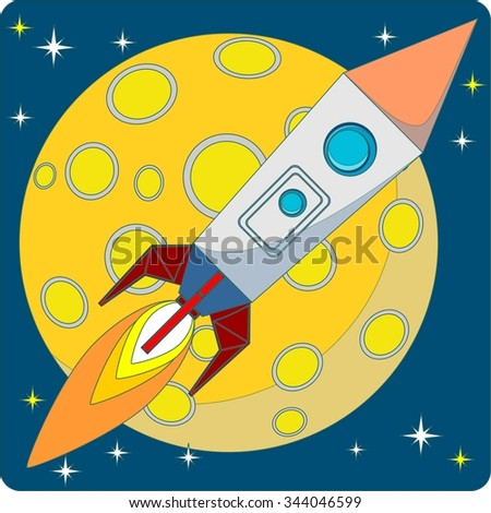 Space Rocket on a Background of Yellow Moon and a Starry Blue Sky in the Space.  Illustration - stock photo