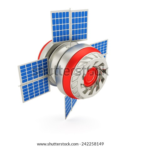 Space satellite isolated on white background. 3d render - stock photo