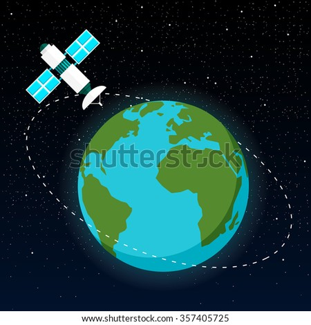 Space Satellite. The trajectory of the satellite around the Earth