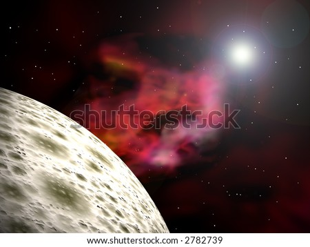 Space-scape with a  planet and a bright star. 3D rendered scene - stock photo