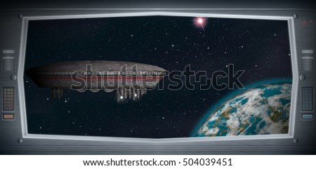 Space scene of alien world from a window view. Original Computer illustration. Not a 3D render.