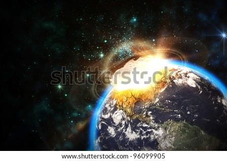 Space scene of asteroid impact on earth - stock photo
