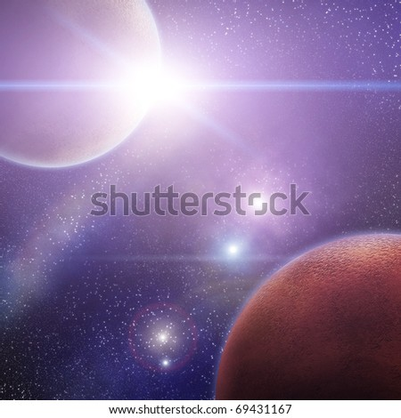 Space scene with rising sun - stock photo