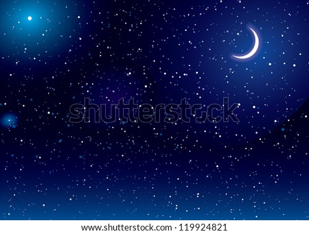 Space scene with stars and moon ideal desktop background - stock photo