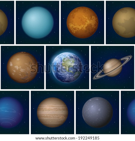 Space seamless background, split into separate parts with set of Solar System planets: Earth, Mercury, Venus, Mars, Jupiter, Saturn, Uranus, Neptune and Pluto. Elements furnished by NASA - stock photo