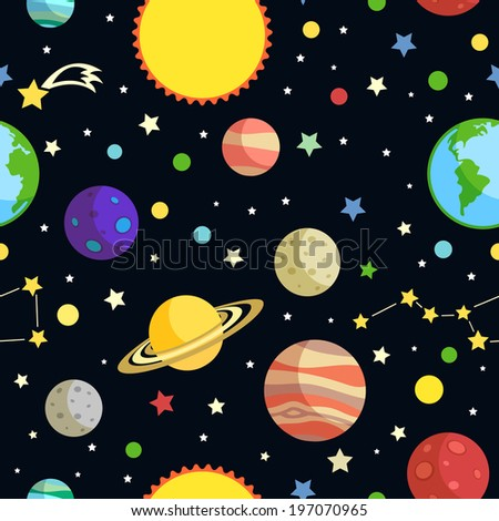 Space seamless pattern with planets stars comets and constellations on dark background  illustration - stock photo