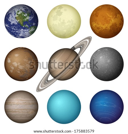 Space set of isolated planets of Solar System - Mercury, Venus, Earth, Mars, Jupiter, Saturn, Uranus, Neptune and Moon. Elements of this image furnished by NASA (http://solarsystem.nasa.gov) - stock photo