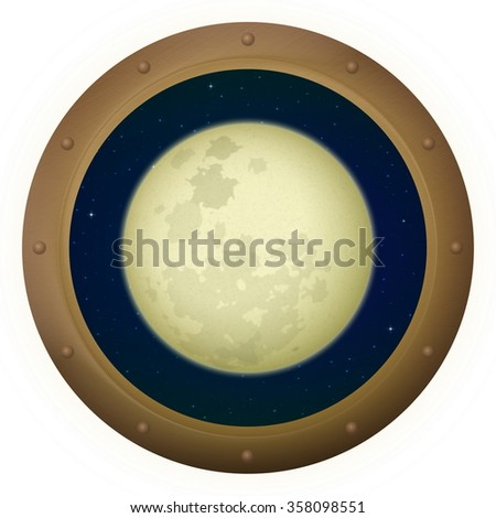 Space Ship Round Window Porthole with Big Bright Moon and Stars, Isolated. Elements of this Image Furnished by NASA - stock photo