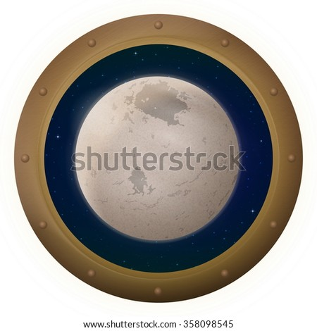 Space Ship Round Window Porthole with Charon, Moon of Dwarf Planet Pluto and Stars, Isolated. Elements of This Image Furnished by NASA - stock photo