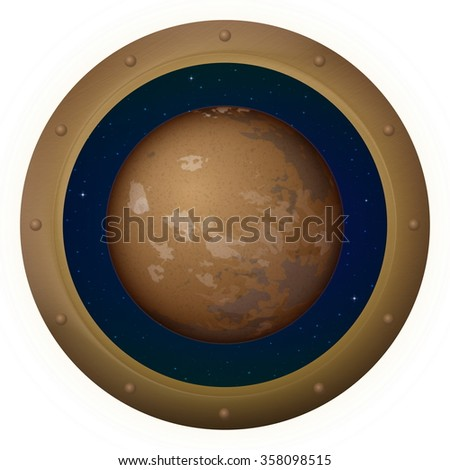 Space ship round window porthole with planet Mars and stars, isolated. Elements of this image furnished by NASA - stock photo