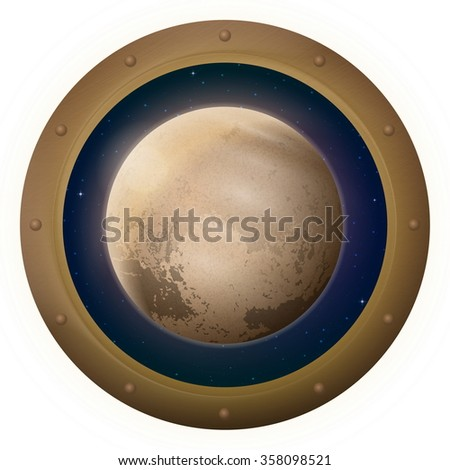 Space Ship Round Window Porthole with Planet Pluto and Stars, Isolated. Elements of Image Furnished by NASA - stock photo