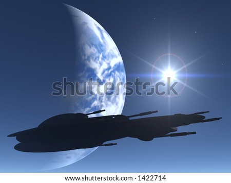 Space Ship silhouette over earth and sun - stock photo